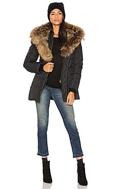 Akiva Asiatic Raccoon Fur and Rabbit Fur Coat en Negro