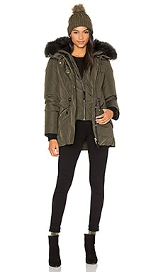 Katryn Asiatic Raccoon Fur Coat en Army
