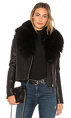Yoana Leather Jacket  With Raccoon Fur