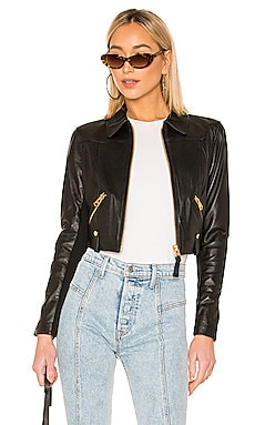 Bessie Cropped Leather Jacket Mackage $690
