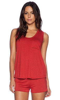 MAISON DU SOIR Petunia Racer Back Tank in Red & Black Stripe