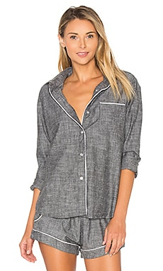 Sydney Top en Black Chambray