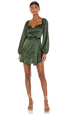 Мини платье etta - MAJORELLE, Темно-зеленый, Длинные рукава