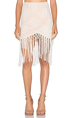 MAJORELLE Filaree Fringe Skirt in Ivory