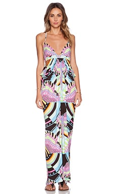 Mara Hoffman Triangle Cut Out Maxi Dress in Rainbow Bird Black