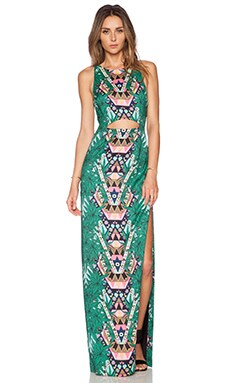 Mara Hoffman Cut Out Column Maxi Dress in Maristar Green