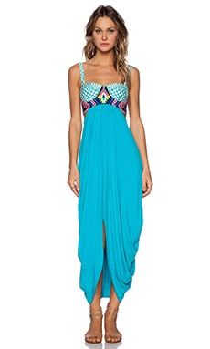 Mara Hoffman Embroidered Maxi Dress in Turquoise
