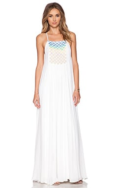 Beaded Trapeze Maxi Dress in White