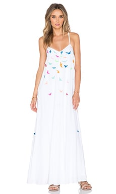 Mara Hoffman Embroidered Birds Maxi Dress in White