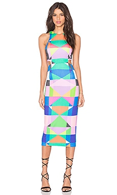Mara Hoffman Cut Out Midi Dress in Diamonds Pastel Pink