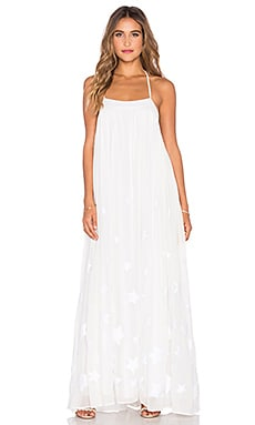 Low Back Maxi Dress in Star Embroidered Chiffon