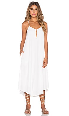 Keyhole Midi Dress en Blanc