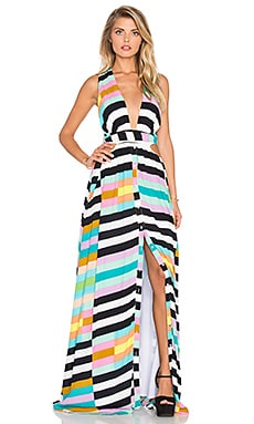 Wrap Top Maxi Dress in Flag Stripe Rainbow