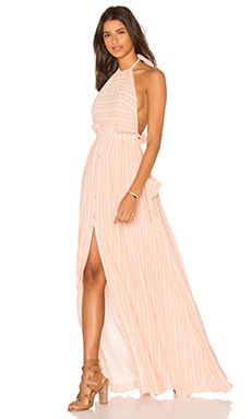 Pocket Halter Dress in Pink & White Stripe