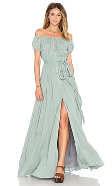 Mara Hoffman Off The Shoulder Maxi Dress in Sage