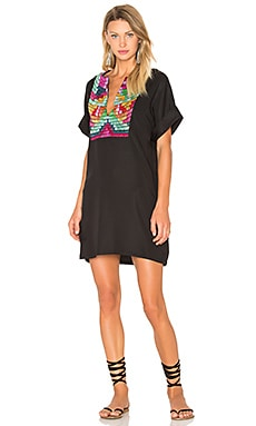 Radial Embroidery Tunic Dress in Black Multi