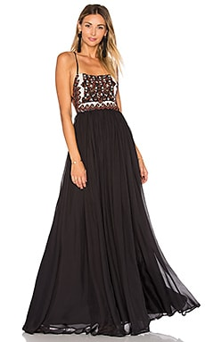 Embellished Silk Maxi Dress in Black Multi