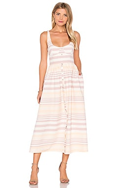 Button Front Midi Dress in Sand Stripe