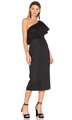 Embroidered One Shoulder Dress in Black