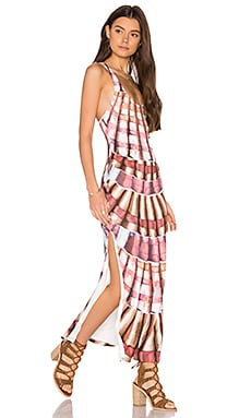 Racer Back Maxi Dress in Shells Flamingo