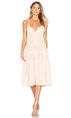 Better Cotton Tier Dress in Pink Stripe