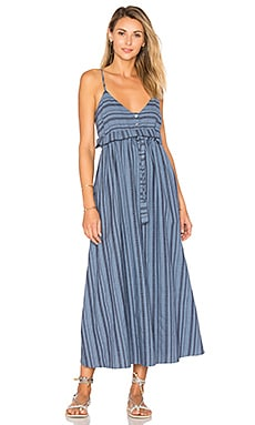 Tie Waist Midi Dress in Denim Multi