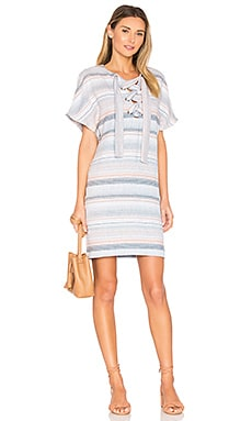 Lace Up Mini Dress in Blue Multi