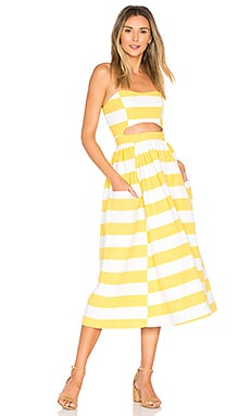 Cut Out Midi Dress in White & Yellow