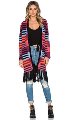 Mara Hoffman Knit Fringe Cardigan in Connector Pink