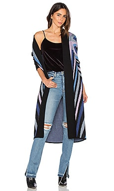Compass Knit Long Cardigan in Denim
