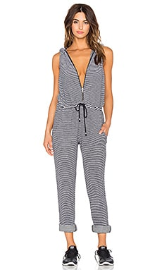 Hooded Jumpsuit in B&W Surf Stripe Terry