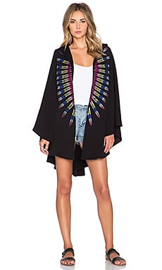 Mara Hoffman Embroidered French Terry Cape in Black