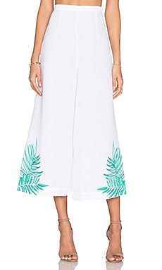 Leaf Embroidered Culotte en Blanc