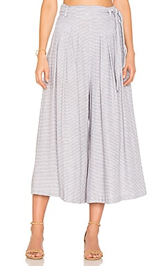 Wide Leg Crop Pant in Grey