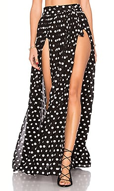 Embroidered Slit Front Skirt in Polka Dot Black