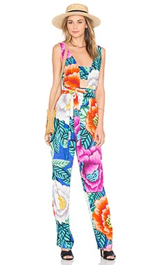 Cut Out Front Jumpsuit in Flora Blue