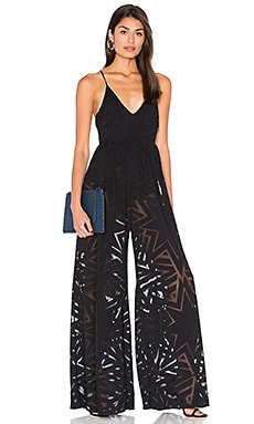Compass Burn Out Wide Leg Jumpsuit en Noir