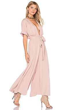 Deep V Jumpsuit in Mauve