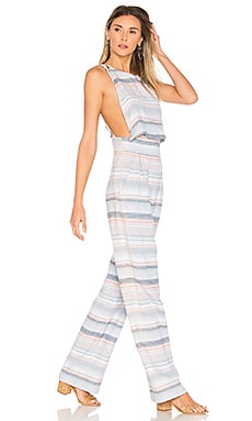 Overlap Jumpsuit in Blue Multi