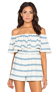 Mara Hoffman Off Shoulder Ruffle Top in n Novelty Stripe