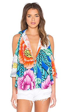 Mara Hoffman Open Shoulder Top in Flora Blue