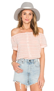 Mara Hoffman Off The Shoulder Button Down Top in Pink & White Stripe