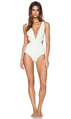 Mara Hoffman Front Twist One Piece Swimsuit in Cream