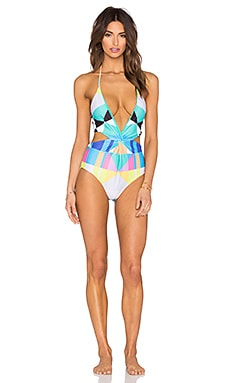 Mara Hoffman Twist Front Cut Out Swimsuit in Diamond Aqua