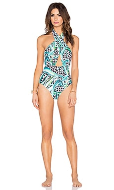 Mara Hoffman Cross Front Halter Swimsuit in Aloe Green