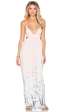 Cut Out Side Draped Maxi Dress en Rose Pastel Aloès