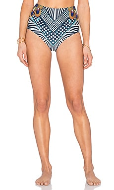 Mara Hoffman Reversible High Waisted Bikini Bottom in Peacocks Green