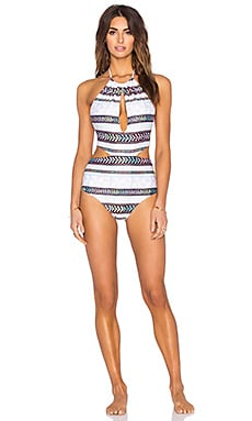 Slit Front Swimsuit in Pinwheel Stone