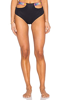 Mara Hoffman Embellished Cut Out Bikini Bottom in Black
