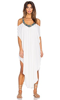 Mara Hoffman Embellished Off Shoulder Caftan in Cream